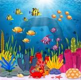 Cute fish cartoon in the sea. Illustration of Cute fish cartoon in the sea Stock Photo