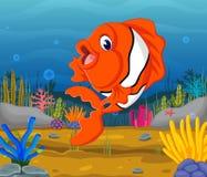 Cute fish cartoon in the sea. Illustration of Cute fish cartoon in the sea Stock Photography