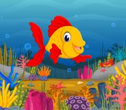 Cute fish cartoon in the sea. Illustration of Cute fish cartoon in the sea Royalty Free Stock Photo