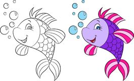 Before and after illustration of a cute fish, smiling, with bubbles, in color and black and white, for children`s coloring book. Adorable before and after royalty free illustration