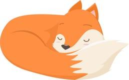 Illustration of cute fox cartoon sleeping Stock Photography