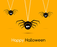 Illustration Cute Funny Spiders and Cobweb for Halloween, Simple style with Shadows - Vector. Illustration Stock Image