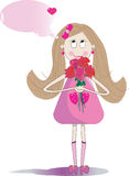 Illustration of cute girl with bouquet of  roses Royalty Free Stock Image