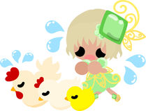The illustration of the cute girl and chicken Royalty Free Stock Photo