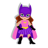 Illustration cute  girl in the costume of a superhero. Stock Photos