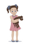 Illustration of a cute girl embracing her pet puppy. Hand drawn illustration of a cute little girl in a pink dress embracing her brown pet puppy Royalty Free Stock Photos