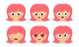 Illustration of cute girl faces showing different emotions vector illustration
