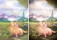 An illustration of cute girl hugging her Golden Retriever in nat Stock Image