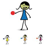 Illustration of cute girl(kid) playing table tennis game Stock Photo