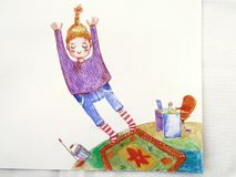 Illustration of a cute girl in a purple sweater and striped socks jumping from the planet with the work up in the space. Illustration of a cute girl in a purple stock illustration