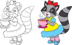 Before and after illustration of a cute girl raccoon, drinking tea, in black and white and in color, for coloring book. Adorable before and after illustration of stock illustration