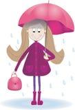 Illustration with cute girl rain umbrella  rainy day Royalty Free Stock Photography