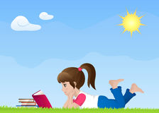 Illustration of a cute girl reading book Stock Image