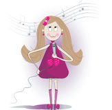 Illustration of cute girl sings a song with microphone. Royalty Free Stock Photo
