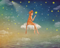 Illustration of a cute girl  sitting  on the moon  in night sky Royalty Free Stock Photos