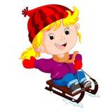 Cute girl sledding in snow. Illustration of cute girl sledding in snow Stock Photos