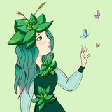 Illustration with a cute girl in succulent plants, The girl succulent princess. Young and beautiful girl. Girl princess succulents. A little princess of flowers vector illustration