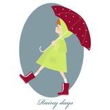 Illustration of cute girl with umbrella in rainy season. Rainy day. Royalty Free Stock Photos