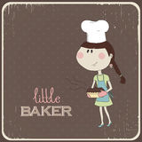 Illustration of a cute girl who cooked cake. eps 1 Royalty Free Stock Images