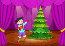 Cute girl in winter clothes performing on stage. Illustration of cute girl in winter clothes performing on stage Stock Photography