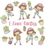 Cute girls with cactus character design stock illustration