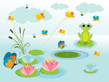 Illustration of cute green frog. With background Royalty Free Stock Image