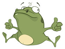 Illustration of a Cute Green Frog. Cartoon Character Stock Photos