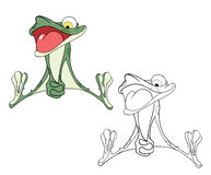 Illustration of a Cute Green Frog. Cartoon Character Stock Photo