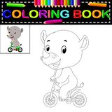 Cute happy rhino coloring book. Illustration of cute happy rhino coloring book royalty free illustration