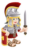 Roman Soldier with Sword. Illustration of a cute happy Roman soldier holding a sword and a shield Royalty Free Stock Photo