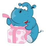 Illustration of a Cute Hippo. Cartoon Character Stock Photo