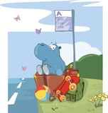 Illustration of a Cute Hippo Traveler. Cartoon Character Royalty Free Stock Photo