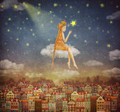 Illustration of cute houses with a little girl on clouds Stock Image