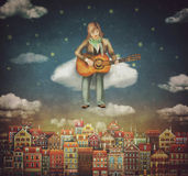 Illustration of  cute houses  with a man that plays on guitar. Illustration of  cute houses  with a man that plays on the guitar  in night sky Stock Images