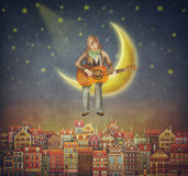 Illustration of  cute houses  with a man that plays on the guitar Royalty Free Stock Photo