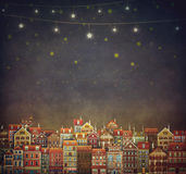Illustration of  cute houses in  sky Royalty Free Stock Photography
