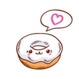 Illustration of cute kawaii donut. Stock Image