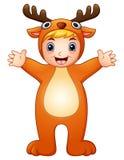 Cute kid in christmas deer costume Royalty Free Stock Photos
