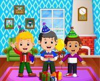 Cute kids in the living room during christmas. Illustration of cute kids in the living room during christmas Stock Photo