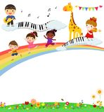 Kids and music. Illustration of cute kids and music Stock Photos