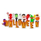 Cute kids wearing halloween costumes royalty free illustration