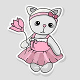 Illustration of a cute kitten with flowers. Royalty Free Stock Photography