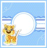 Illustration of cute lion on decorative background Royalty Free Stock Photography