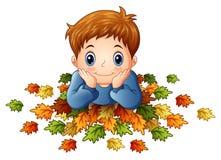 Cute little boy with autumn leaves. Illustration of Cute little boy with autumn leaves Royalty Free Stock Photos