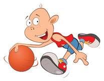 Illustration of Cute Little Boy. Basketball player Royalty Free Stock Photography