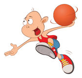 Illustration of Cute Little Boy. Basketball player Stock Photography
