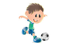 Illustration of cute little boy playing soccer Royalty Free Stock Photography