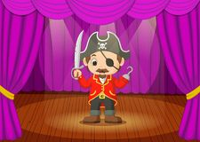 Cute little boy wearing pirate costume on stage Stock Photos