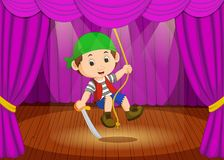 Cute little boy wearing pirate costume on stage Royalty Free Stock Images