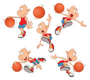 Illustration of Cute Little Boys. Basketball players Royalty Free Stock Photography